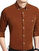 זול סוודרים וקרדיגנים לגברים-אחיד צוארון עם כפתור עבודה חולצה - בגדי ריקוד גברים בסיסי / שרוול ארוך