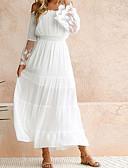 baratos Vestidos de Mulher-Mulheres Praia balanço Vestido - Renda, Côr Sólida Ombro a Ombro Longo Branco