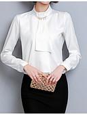 baratos Camisas Femininas-Mulheres Camisa Social Básico Sólido Colarinho Chinês Delgado / Verão