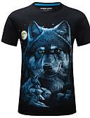 ieftine Maieu & Tricouri Bărbați-Bărbați Rotund Tricou Șic Stradă - Animal Imprimeu Lup / Manșon scurt