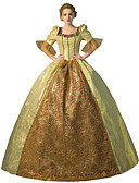 זול שמלות לילדות פרחים-נסיכות אגדה רנסנס תחפושות בגדי ריקוד נשים שמלות תחפושות נשף מסכות תחפושת למסיבה תלבושות צהוב מוזהב וינטאג Cosplay polyster שרוול 4\3