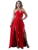 זול שמלות נשים-סטרפלס מותניים גבוהים רגל רחבה מפוצל / בסיסי, אחיד - Rompers רזה סגנון רחוב מועדונים בגדי ריקוד נשים / שסע