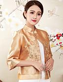 זול עליוניות לנשים-אחיד עומד סגנון סיני חולצה - בגדי ריקוד נשים רקום