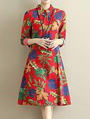 זול שמלות נשים-בגדי ריקוד נשים מתוחכם מכנסיים - פרחוני דפוס תלתן / עומד / חגים
