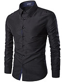 お買い得  メンズシャツ-男性用 ワーク - ベーシック シャツ ビジネス / ストリートファッション スリム ソリッド ネイビーブルー XL / 長袖