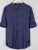 זול חולצות לגברים-אחיד צווארון עומד(סיני) פעיל פשתן, חולצה - בגדי ריקוד גברים בסיסי / שרוול ארוך