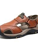 cheap Men's Exotic Underwear-Men's Cowhide Summer Comfort Sandals Brown / Dark Brown / Khaki