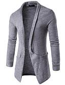 tanie Męskie swetry i swetry rozpinane-Męskie Moda miejska Długie Sweter rozpinany Solidne kolory Długi rękaw
