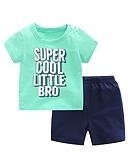 hesapli Erkek Çocuk Kıyafet Setleri-Toddler Genç Erkek Günlük Solid Kısa Kollu Kıyafet Seti Havuz / Sevimli