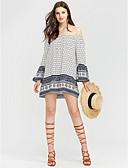 זול חולצה-פייסלי סירה מתחת לכתפיים ליציאה טישרט - בגדי ריקוד נשים