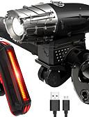 billige Korsetter-Frontlys til sykkel / Baklys til sykkel / Sett med oppladbare sykkellykter LED Sykkellykter LED Sykling Vanntett, Lettvekt Oppladbart Batteri 800 lm Oppladbart Batteri Hvit Sykling