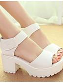 ieftine Hanorace Bărbați și Plover-Pentru femei Pantofi PU Vară Confortabili / Balerini Basic Sandale Toc Îndesat Alb / Negru