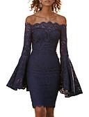 זול שמלות נשים-סירה מתחת לכתפיים / סירה רחב מותניים גבוהים עד הברך תחרה / מפוצל, אחיד - שמלה צינור / נדן רזה שרוול התלקחות סגנון רחוב / מתוחכם מועדונים