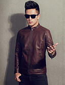 cheap Sport Watches-Men's Ordinary Leather Jacket-Solid Colored,Oversized Stand