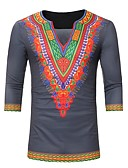 baratos Camisas Masculinas-Homens Camiseta Básico Estampado, Geométrica