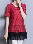 baratos Camisetas Femininas-Mulheres Camiseta Básico Moda de Rua Renda,Floral