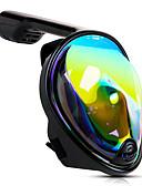 abordables Vestidos de Novia-Buceo Máscaras Máscara de esnórquel Máscaras de Cara Completa Submarino Protección UV-400 Ventanilla Única - Natación Buceo Submarinismo Gel de sílice - para Adultos Negro / 180 grados / Anti vaho