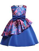 abordables Vestidos de Niña Florista-Niños Chica Activo Fiesta / Noche Floral Lazo Sin Mangas Algodón / Poliéster Vestido Azul Piscina / Bonito