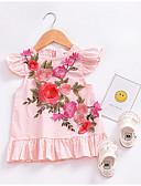baratos Vestidos para Bebês-Vestido floral diário do bebê menina, poliéster verão bonito sem mangas corar rosa 80 110 100 90