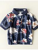 tanie Topy dla chłopców-Brzdąc Dla chłopców Podstawowy Codzienny / Święto Kwiaty Krótki rękaw Regularny Bawełna T-shirt Granatowy 100