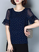 cheap Women's Blouses-Women's Vintage Plus Size Blouse - Polka Dot, Print Chiffon