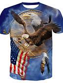 billige T-skjorter og singleter til herrer-Bomull Rund hals T-skjorte Herre - Dyr, Trykt mønster Grunnleggende / Kortermet