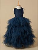 Χαμηλού Κόστους Λουλουδάτα φορέματα για κορίτσια-Βραδινή τουαλέτα Μακρύ Φόρεμα για Κοριτσάκι Λουλουδιών - Δαντέλα πάνω από τούλι Αμάνικο Scoop Neck με Δαντέλα με LAN TING BRIDE®
