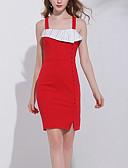 olcso Print Dresses-Női Pamut Vékony Nadrág - Egyszínű Magas derék Rubin / Parti / Mini / Pántos / Aszimmetrikus / Alkalmi