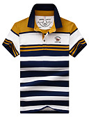 billige Poloskjorter til herrer-Bomull Skjortekrage Store størrelser Polo Herre - Ensfarget / Lapper, Trykt mønster Aktiv / Gatemote BLå & Hvit / Kortermet / Strand
