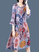 זול שמלות נשים-מידי דפוס, גיאומטרי - שמלה סווינג משוחרר מידות גדולות מתוחכם ליציאה בגדי ריקוד נשים