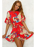 cheap Print Dresses-Women's Floral Daily Going out Sophisticated Flare Sleeve Slim Sheath Dress - Floral Print Summer Red Light Green Khaki M L XL