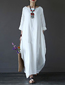 cheap Women's Scarves-Women's Plus Size Holiday Cotton Loose Swing Dress - Solid Colored White Maxi