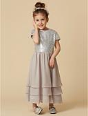 hesapli Gelin Annesi Elbiseleri-A-Şekilli Taşlı Yaka Diz Altı Şifon / Payetli Payet ile Çiçekçi Kız Elbisesi tarafından LAN TING BRIDE®