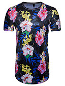 cheap Men's Shirts-Men's Exaggerated Street chic T-shirt - Floral Color Block, Print