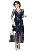 cheap Women's Tops-Women's Daily / Going out Basic / Street chic Maxi Swing Dress - Geometric Spring Blue L XL XXL