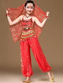 hesapli Göbek Dansı Giysileri-Göbek Dansı Kıyafetler Genç Kız Eğitim / Performans Şifon Kurdeleler / Payet Kolsuz Yüksek Saç Mücevheri / Top / Pantalonlar