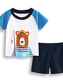 tanie Zestawy ubrań dla chłopców-Brzdąc Dla chłopców Aktywny Święto Nadruk Nadruk Krótki rękaw Bawełna Komplet odzieży / Śłodkie