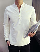 cheap Men's Shirts-Men's Chinoiserie Shirt - Solid Colored / Long Sleeve