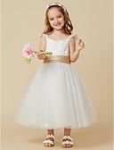 hesapli Çiçekçi Kız Elbiseleri-A-Şekilli sapanlar Diz Boyu Dantelalar / Tül Kurdeleler ile Çiçekçi Kız Elbisesi tarafından LAN TING BRIDE®