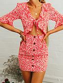 זול שמלות נשים-אדום צווארון V כתפיה צווארון U מעל הברך פרחוני גיאומטרי - שמלה צינור נדן רזה שרוול התלקחות בוהו ליציאה חגים בגדי ריקוד נשים