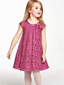 cheap Girls' Sweet Dresses-Toddler Girls' Daily Patchwork Lace Sleeveless Rayon Polyester Dress Fuchsia / Cute