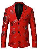 cheap Men's Blazers & Suits-Men's Party / Daily Spring Regular Blazer, Print V Neck Long Sleeve Polyester Black / Red / Navy Blue M / L / XL
