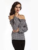 זול חולצה-משובץ דמקה בסיסי חולצה - בגדי ריקוד נשים