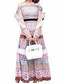 זול שמלות נשים-סטרפלס / סירה מתחת לכתפיים מותניים גבוהים מקסי אחיד - שמלה סווינג רזה יומי / ליציאה בגדי ריקוד נשים / אביב