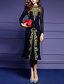 cheap Women's Dresses-Women's Embroidery Plus Size Daily Slim Sheath Dress - Solid Colored Black Spring Black XL XXL XXXL