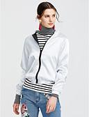 cheap Women's Blazers & Jackets-Women's Sports / Casual / Daily / Weekend Regular Jacket, Geometric Round Neck Long Sleeve Polyester Silver / Khaki S / M / L