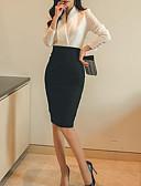 povoljno Ženski dvodijelni kostimi-Žene Formalan Rad Slim Majica - Jednobojni Visoki struk Suknja V izrez / Proljeće