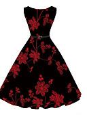 cheap Vintage Dresses-Women's Holiday Vintage A Line Dress - Floral Print
