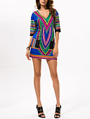 cheap Print Dresses-Women's Daily / Holiday Loose Tunic Dress - Geometric / Color Block Print High Waist V Neck Spring Cotton Rainbow S M L