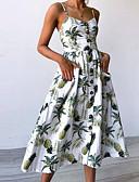 olcso Női ruhák-Női Alkalmi Punk & Gótikus Vékony Hüvely Ruha Virágos Térd feletti Pántos Fehér